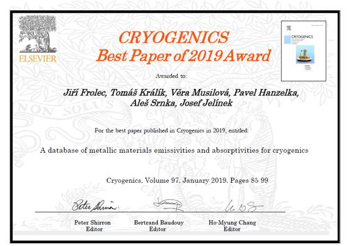 Cryogenics Best Paper of 2019 Award